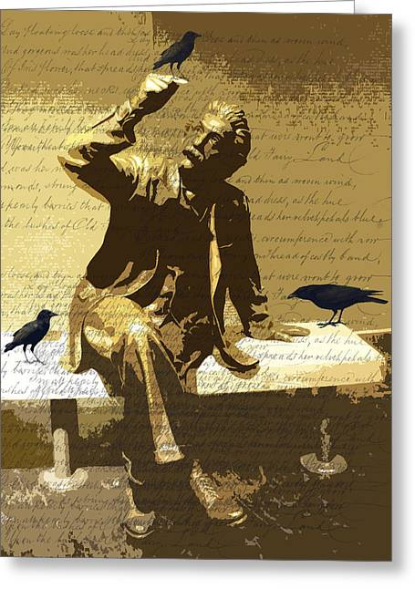 Statue Portrait Digital Art Greeting Cards - For the Birds Greeting Card by Nancy Merkle