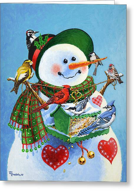 Snowman Greeting Cards - For the Birds Greeting Card by Richard De Wolfe