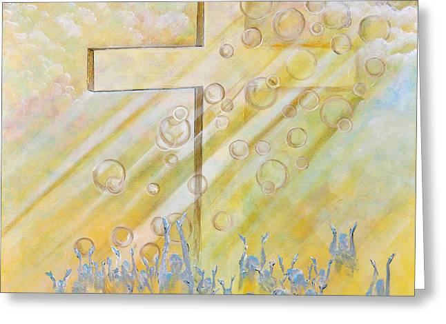 Sun Rays Paintings Greeting Cards - For The Cross Greeting Card by Cassie Sears