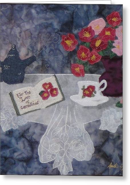 Flower Still Life Tapestries - Textiles Greeting Cards - For the Love of Camellias Greeting Card by Anita Jacques
