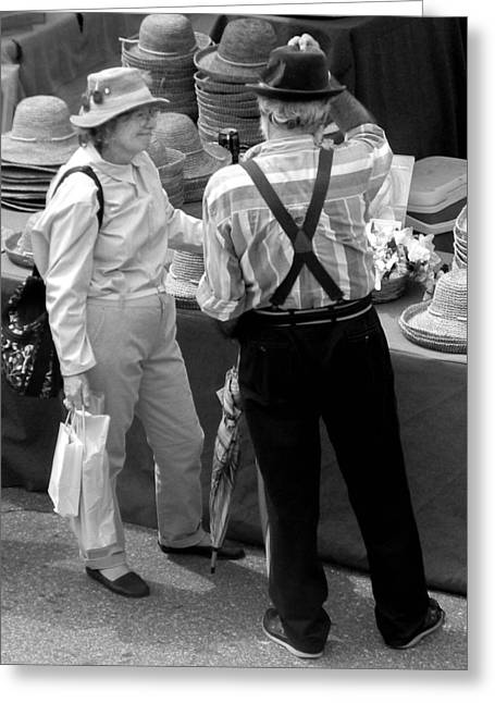 Suspenders Greeting Cards - For the Love of Hats and Each Other Greeting Card by Christy Usilton