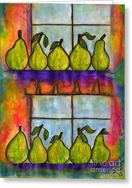Survivor Art Greeting Cards - For the Love of Pears Greeting Card by Angela L Walker