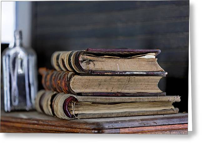 Ledger; Book Photographs Greeting Cards - For the Record Greeting Card by Lone  Dakota Photography