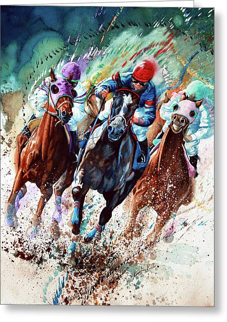 Race Horse Greeting Cards - For The Roses Greeting Card by Hanne Lore Koehler
