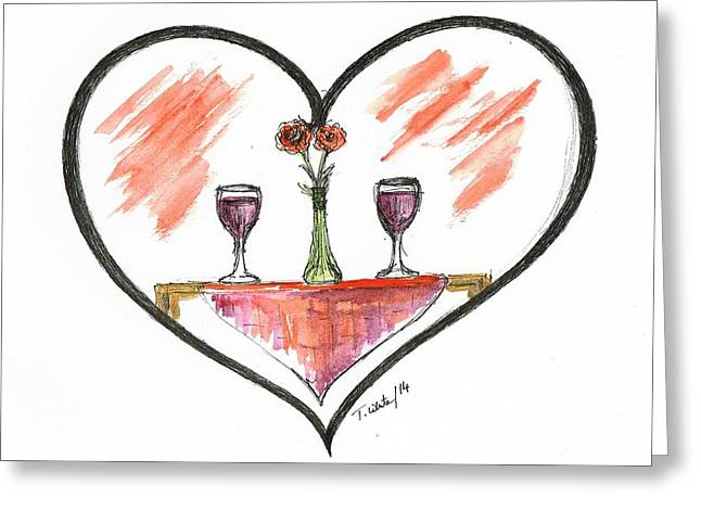 Table Wine Mixed Media Greeting Cards - For Two Greeting Card by Teresa White