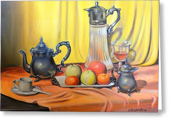 Table Wine Drawings Greeting Cards - For you Greeting Card by Anatoli Razenberg
