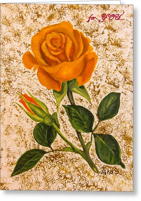 Plant Paintings Greeting Cards - for YOU... Greeting Card by Zina Stromberg