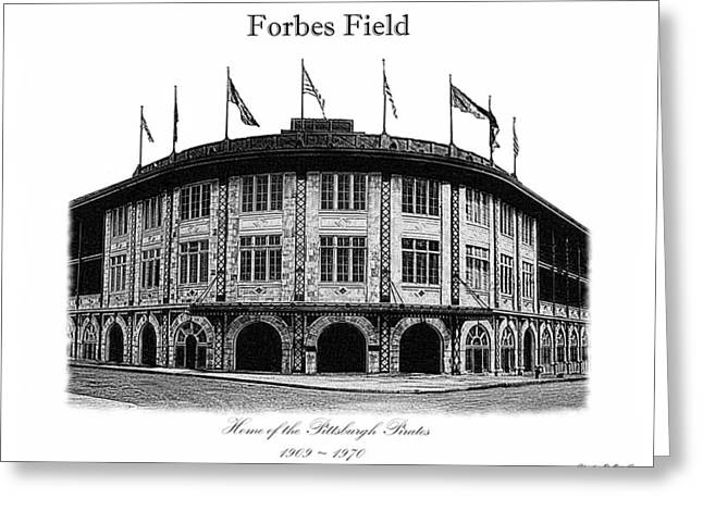 Baseball Fields Drawings Greeting Cards - Forbes Field Greeting Card by Charles Ott