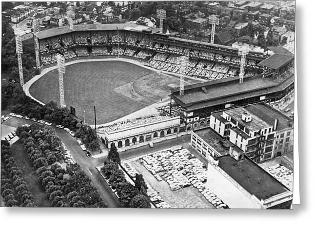 Forbes Field In Pittsburgh Greeting Card by Underwood Archives