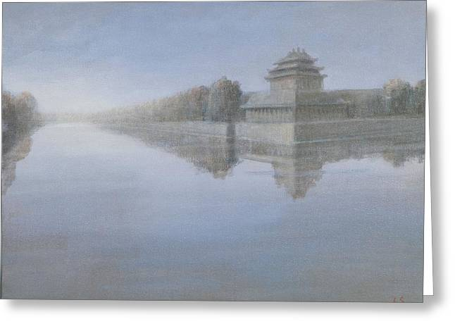 Dynasty Greeting Cards - Forbidden City, 2012 Acrylic On Canvas Greeting Card by Lincoln Seligman