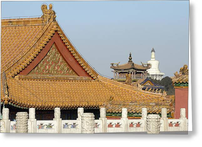 Forbidden City Greeting Cards - Forbidden City and Beihai Park in distance Greeting Card by Brendan Reals