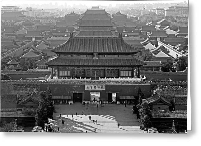 Far Above Greeting Cards - Forbidden City - black and white - Beijing China Greeting Card by Brendan Reals