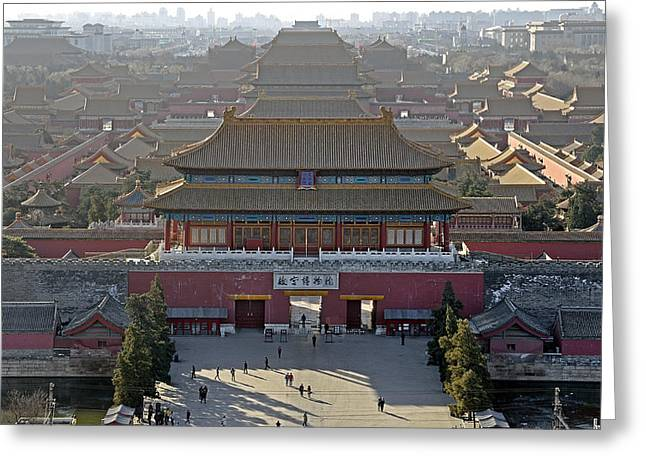 Far Above Greeting Cards - Forbidden City from above - Beijing China Greeting Card by Brendan Reals