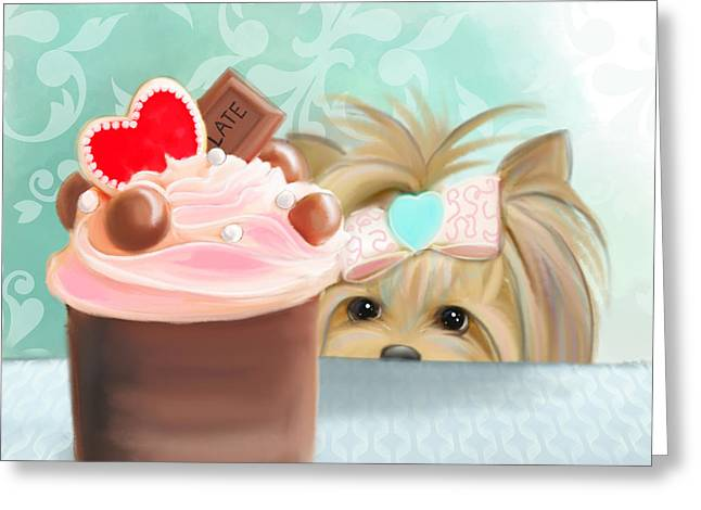 Puppies Mixed Media Greeting Cards - Forbidden Cupcake Greeting Card by Catia Cho
