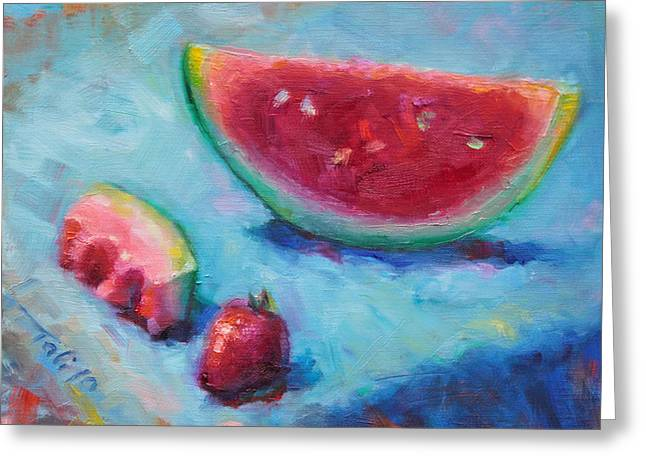 Watermelon Greeting Cards - Forbidden Fruit Greeting Card by Talya Johnson
