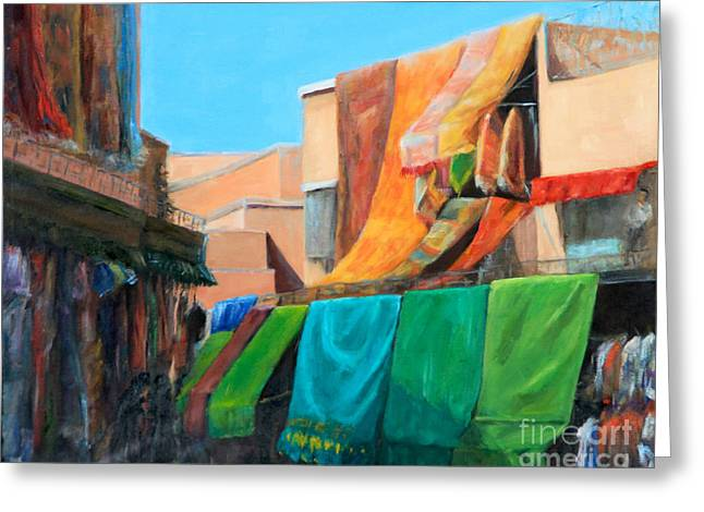 Northern Africa Paintings Greeting Cards - Forbidden Glance Greeting Card by Elizabeth Roskam