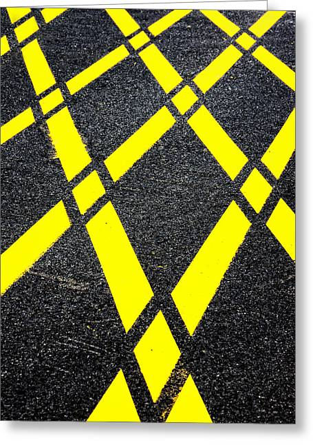 Yellow Line Greeting Cards - Forbidden Parking Yellow Lines  Greeting Card by Mikel Martinez de Osaba