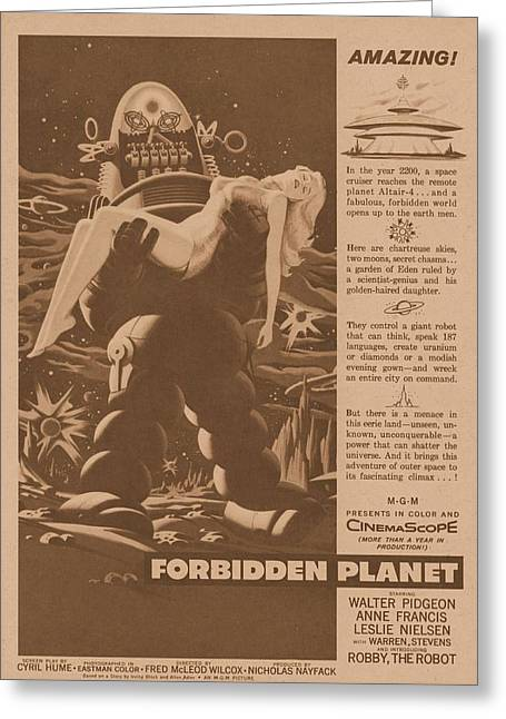 Anne Francis Greeting Cards - Forbidden Planet 1956 Greeting Card by Douglas Settle