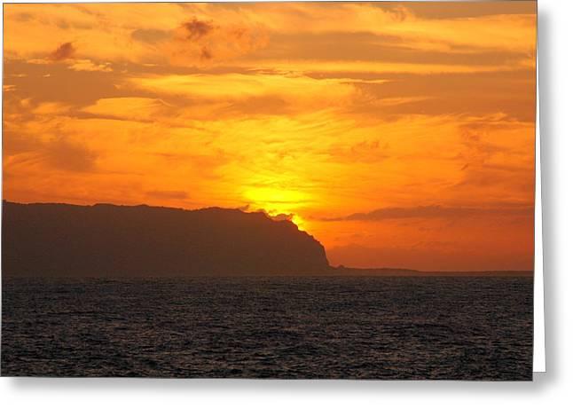 Niihau Hawaii Greeting Cards - Forbidden Sunset Greeting Card by Orcinus Fotograffy