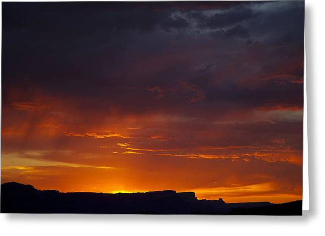 Forboding Greeting Cards - Forboding sunset over Moab Rim Greeting Card by Duncan Mackie