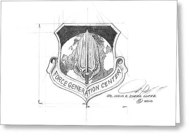 Reserve Drawings Greeting Cards - Force Generation Center Greeting Card by Julio R Lopez Jr