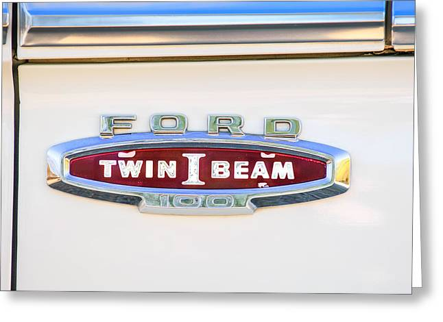 100 Greeting Cards - Ford 100 Twin I Beam Truck Emblem Greeting Card by Jill Reger