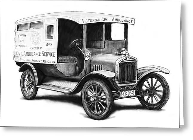 Charcoal Car Greeting Cards - Ford 1923 civil ambulance car drawing poster Greeting Card by Kim Wang