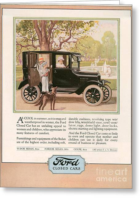 American Automobiles Greeting Cards - Ford 1924 1920s Usa Cc Cars Dogs Greeting Card by The Advertising Archives