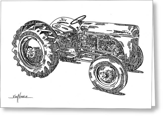 Machinery Drawings Greeting Cards - Ford 8N Tractor Greeting Card by Ken Nickle
