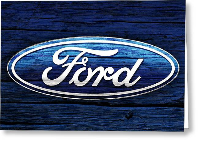 Mechanics Mixed Media Greeting Cards - Ford Barn Door Greeting Card by Dan Sproul