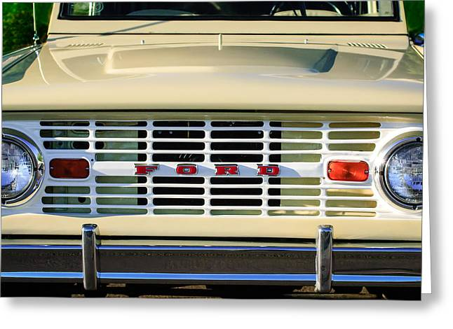 Broncos Greeting Cards - Ford Bronco Grille Emblem -0014c Greeting Card by Jill Reger