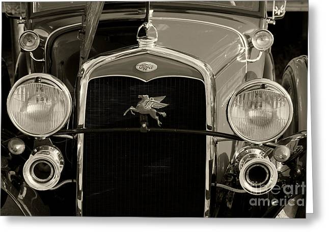 Ford Classic Car Automobile Grill In Sepia 3012.01 Greeting Card by M K  Miller