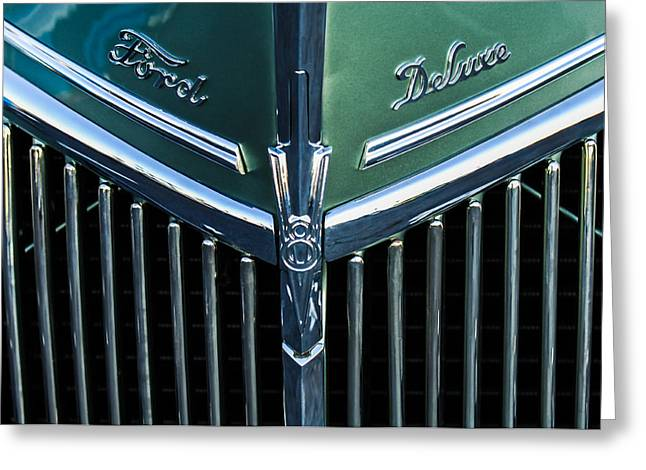 Recently Sold -  - Collector Hood Ornament Greeting Cards - Ford Deluxe V8 Greeting Card by Jill Reger