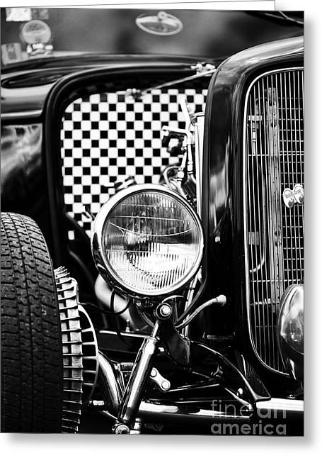 Ford Hotrod Greeting Cards - Ford Dragster Monochrome Greeting Card by Tim Gainey
