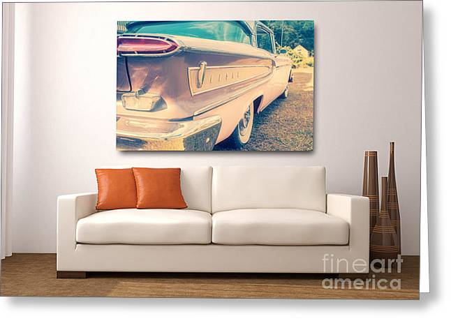 Pink Ford Edsel On Wall Greeting Card by Edward Fielding