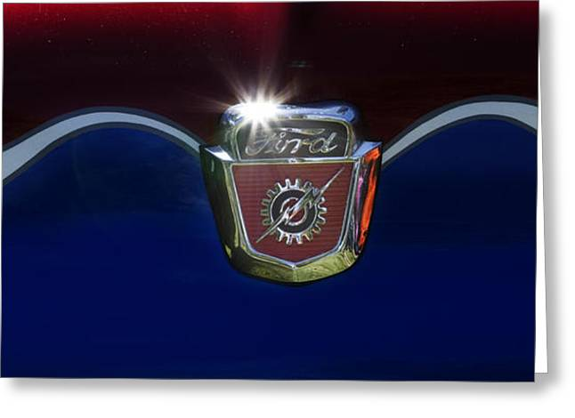 Blue Ford Greeting Cards - Ford Emblem Greeting Card by Rebecca Cozart