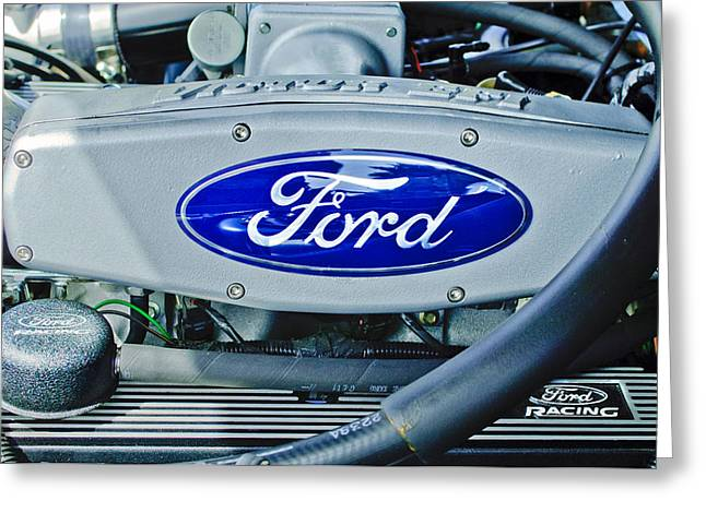 Famous Photographer Greeting Cards - Ford Engine Emblem Greeting Card by Jill Reger