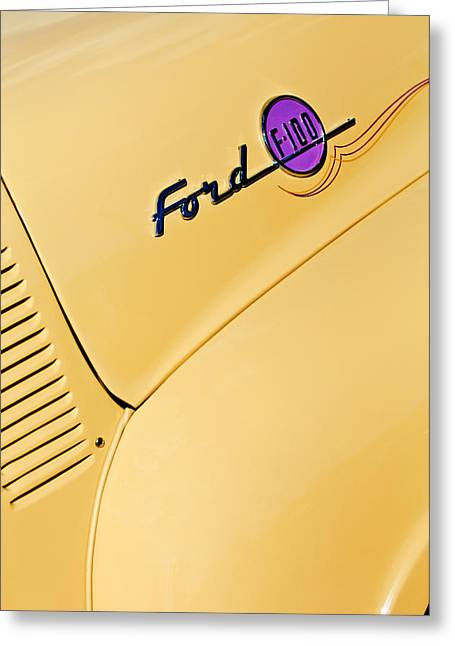 Ford F-100 Emblem Pickup Truck Greeting Card by Jill Reger