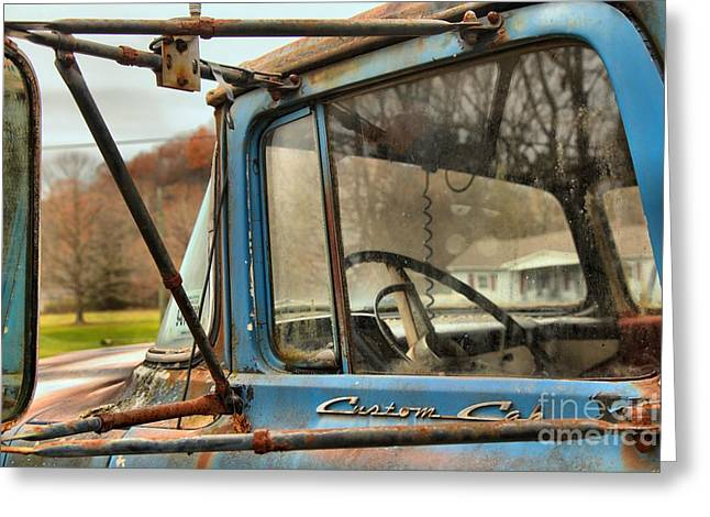 Custom Mirror Greeting Cards - Ford F-600 Past Its Prime Greeting Card by Adam Jewell
