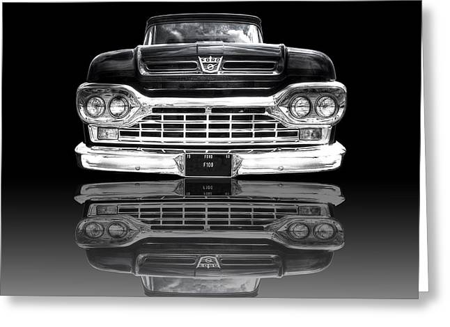 Monochrome Hot Rod Greeting Cards - Ford F100 Truck Reflection on Black Greeting Card by Gill Billington