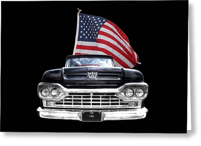Classic Ford Roadster Greeting Cards - Ford F100 With U.S.Flag On Black Greeting Card by Gill Billington