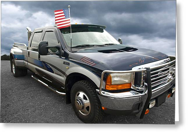 Classic Pickup Greeting Cards - Ford F350 Super Duty Truck Greeting Card by Gill Billington