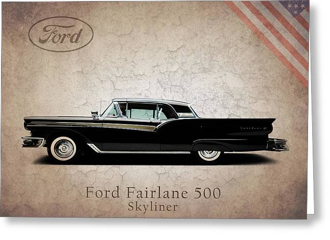 Fairlane Greeting Cards - Ford Fairlane 500 1957 Greeting Card by Mark Rogan