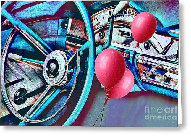 Esque Greeting Cards - Ford Fairlane 500 Dashboard- Warhol-Esque Greeting Card by Liane Wright