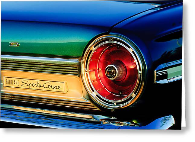 Fairlane Greeting Cards - Ford Fairlane Sports Coupe Taillight Emblem Greeting Card by Jill Reger