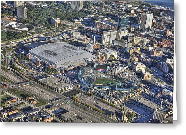 Sports Arenas Greeting Cards - Ford Field Comerica Park From Twenty Five Hundred Feet Greeting Card by B And G Art