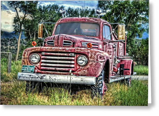 Old Trucks Greeting Cards - Ford Fire Truck Greeting Card by Ken Smith