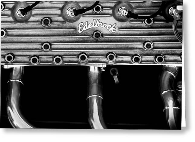 Monochrome Hot Rod Greeting Cards - Ford Flathead-V8 Greeting Card by Steven Milner