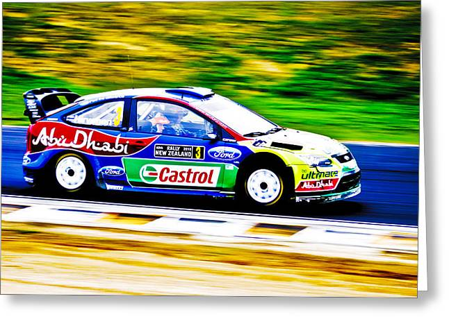 2010 Wrc Greeting Cards - Ford Focus WRC Greeting Card by motography aka Phil Clark