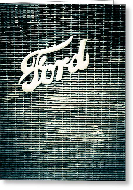Gray Scale Greeting Cards - Ford Grill Greeting Card by Colleen Kammerer